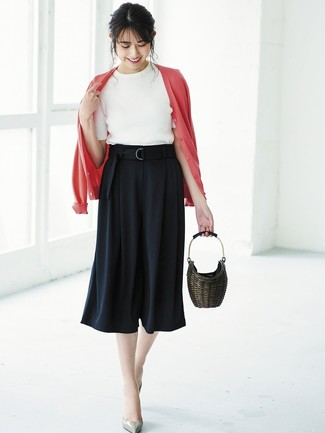 How to wear: red cardigan, white short sleeve sweater, black culottes, grey leather pumps