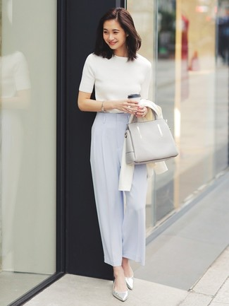 How to wear: white cardigan, white short sleeve sweater, light blue wide leg pants, silver leather ballerina shoes