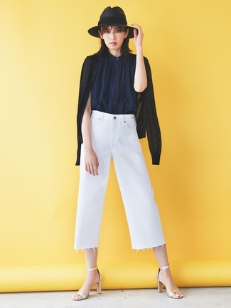 How to wear: black cardigan, navy sleeveless button down shirt, white denim culottes, silver leather heeled sandals