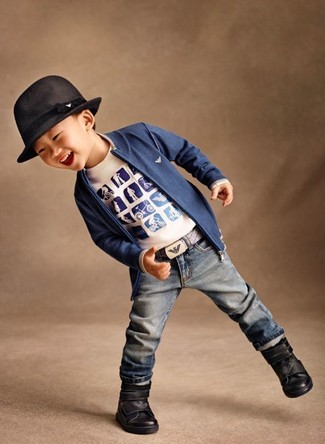How to Wear Blue Jeans In Spring For Boys: Suggest that your little man go for a blue cardigan and blue jeans for a comfortable outfit that's also put together nicely. This getup is complemented really well with black boots.