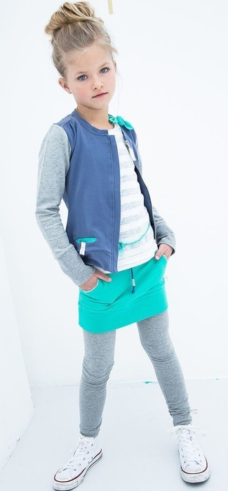 How to wear: blue cardigan, white t-shirt, aquamarine skirt, grey leggings