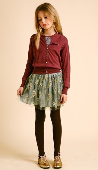 How to wear: burgundy cardigan, burgundy print t-shirt, grey tulle skirt, gold oxford shoes