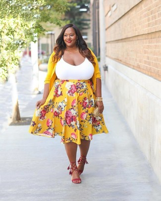 e2662f4734 How to wear: yellow cardigan, white tank, yellow floral midi skirt, red