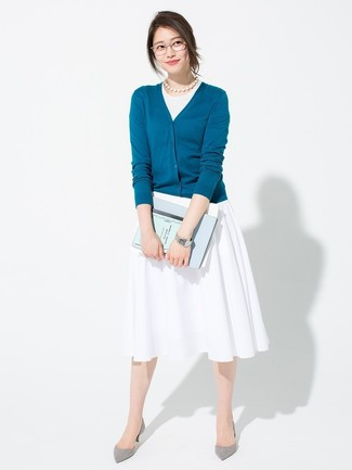 How to wear: teal cardigan, white tank, white pleated midi skirt, grey suede pumps