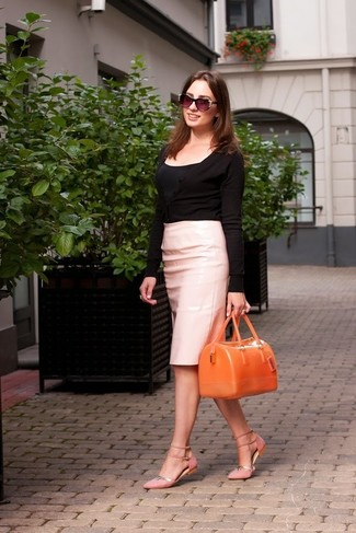 Pink Leather Pencil Skirt | Women's Fashion