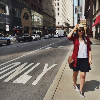 How to wear: red cardigan, white eyelet tank, black skater skirt, gold slip-on sneakers