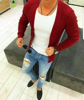 How to wear: red cardigan, white tank, blue ripped skinny jeans, black leather tassel loafers