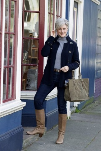 How to wear: navy knit cardigan, grey turtleneck, navy skinny jeans, tan leather knee high boots