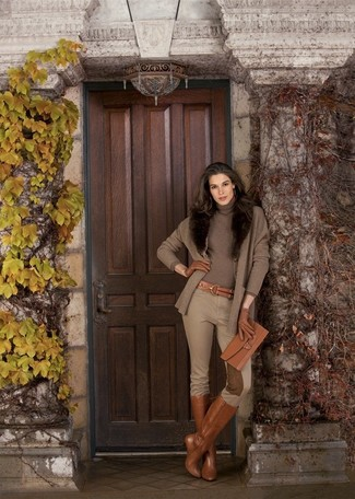 Consider pairing a brown cardigan with tan skinny pants to achieve new levels in outfit coordination. Want to go easy on the shoe front? Go for a pair of Salvatore Ferragamo women's Knee Length Boots for the day. If you feel uninspired by your autumn fashion options, this getup just might be the inspiration you are looking for.