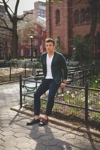 How to Wear a V-neck T-shirt For Men: For a casual ensemble, try pairing a v-neck t-shirt with navy chinos — these pieces work nicely together. You could follow a more classic route with shoes by wearing a pair of burgundy leather loafers.