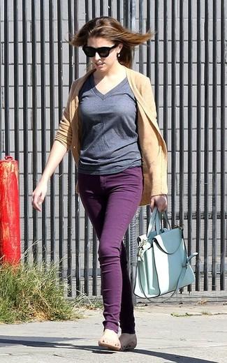 Cardigan v neck t shirt skinny jeans ballerina shoes tote bag large 1820