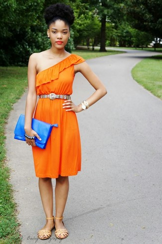 Multi colored Belt Outfits For Women: If it's ease and functionality that you're seeking in an outfit, consider wearing an orange casual dress and a multi colored belt. If you're hesitant about how to finish, a pair of tan leather flat sandals is a smart option.