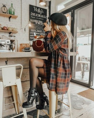 How to wear: brown check casual dress, black leather lace-up ankle boots, burgundy leather handbag, black beret