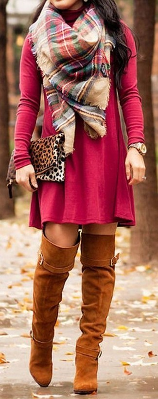How to wear: red casual dress, tobacco suede over the knee boots, tan leopard suede clutch, multi colored plaid scarf