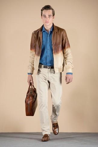 Cazadora de aviador de cuero marrón de Maison Martin Margiela