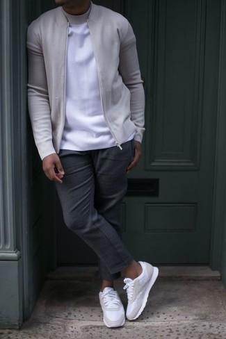 f90a27530c512 Moda para Hombres › Moda para hombres de 30 años Look de moda  Cazadora de  aviador gris