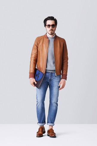 Cazadora de aviador de cuero marrón de Dolce & Gabbana