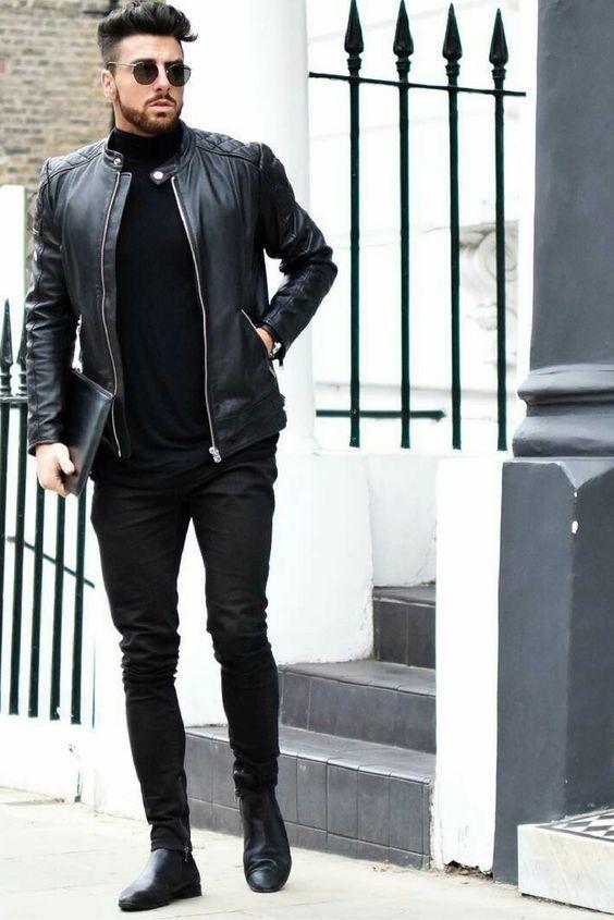 Moda Cuero Negra Aviador Look Acolchada Jersey De Cazadora 4wxTn1nq5