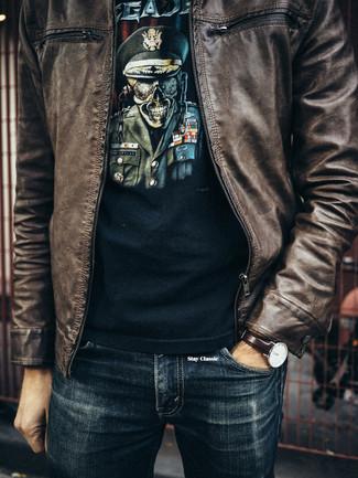 Marrón Cuero Aviador Moda Camiseta Con Look Cazadora De xq7IIwX