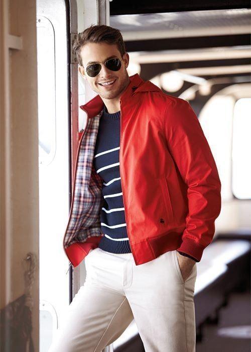 De Roja Cuello Cuero Aviador Con Look Jersey Moda Cazadora 7qwXdd1
