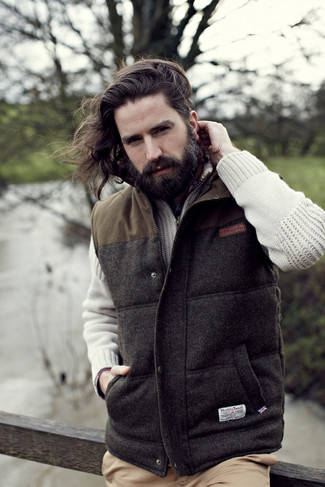 Chaleco de abrigo en gris oscuro de Herno