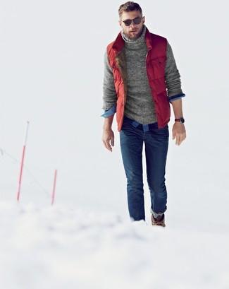 de7a7b0c27e5f ... Look de moda  Chaleco de abrigo acolchado rojo