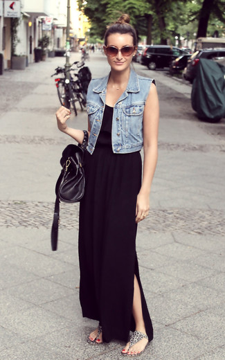 Vestido negro largo con chaleco