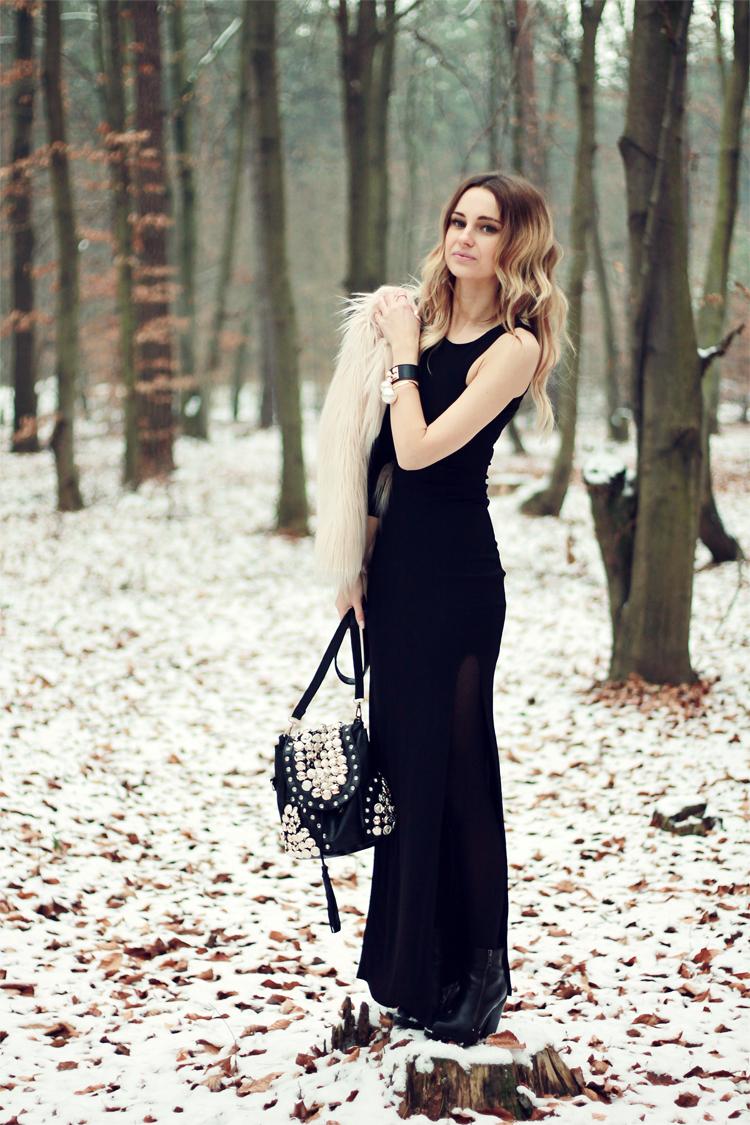 Vestido negro largo con chaqueta