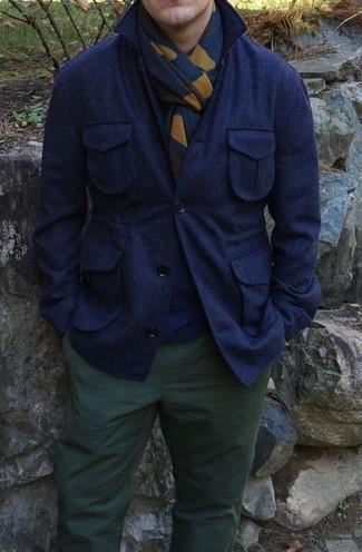 Jersey con cuello circular azul marino de Brunello Cucinelli