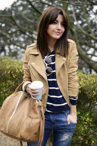 marrón jersey chaqueta Cómo combinar ante un una con motera de claro nwCngAqYa