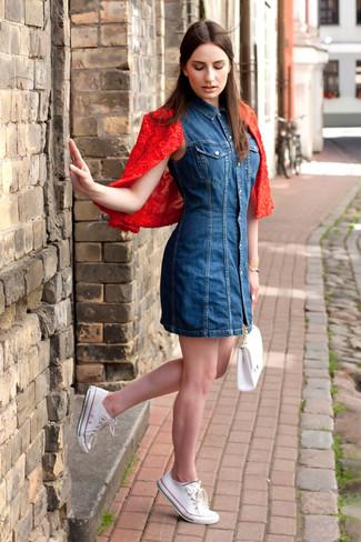 7a90562ab7 ... Look de moda  Chaqueta motera de encaje roja