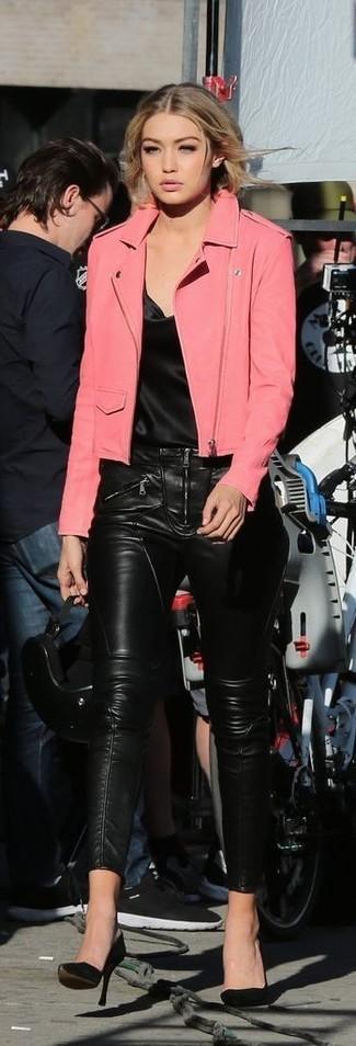 da764851b29 Chaqueta motera de cuero rosa de Neiman Marcus, $245 | Neiman Marcus ...