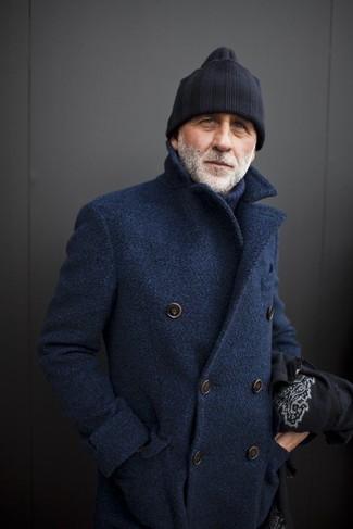 Jersey de cuello alto de lana azul marino de Oliver Spencer