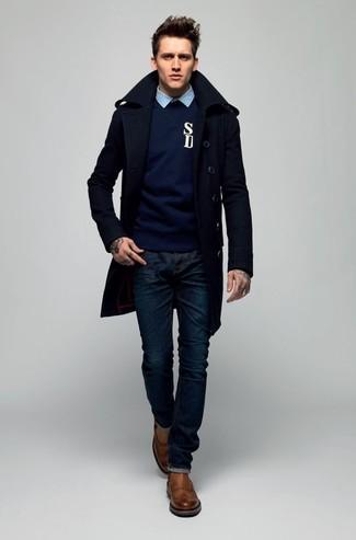 Jersey con cuello circular azul marino de A.P.C.