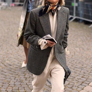 How to Wear a Scarf For Women: The formula for neat relaxed style? A charcoal check wool blazer with a scarf.
