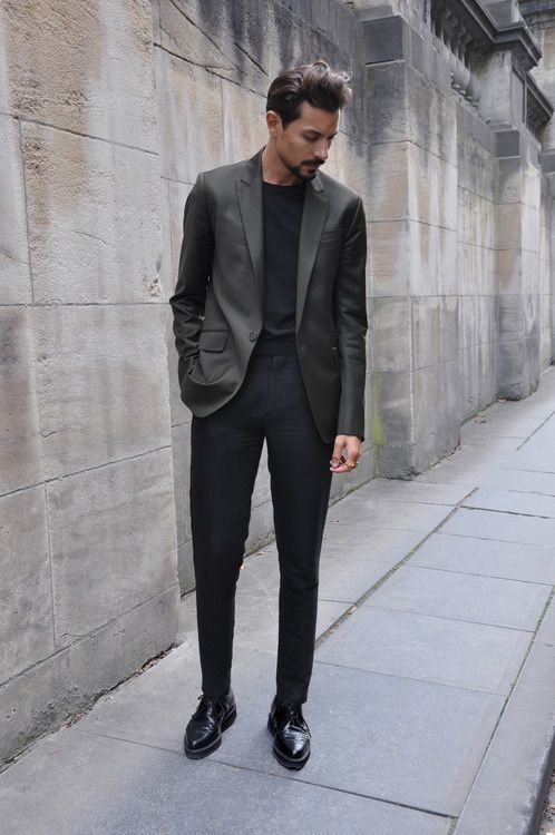 Men's Charcoal Blazer, Black Long Sleeve T-Shirt, Black Dress ...