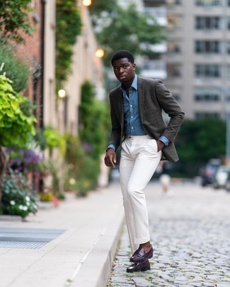 Charcoal Blazer Outfits For Men: Wear a charcoal blazer and white dress pants - this look is guaranteed to make a bold statement. For maximum impact, complete this getup with a pair of burgundy leather loafers.