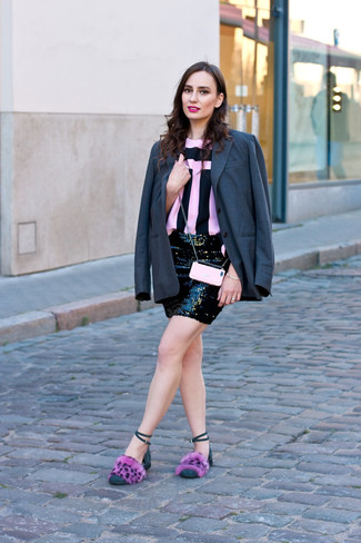 How to wear: charcoal blazer, pink and black vertical striped crew-neck t-shirt, black sequin mini skirt, pink fur flat sandals
