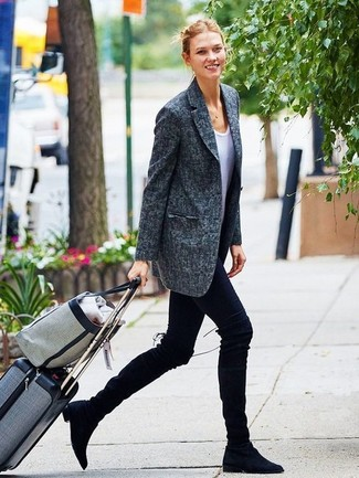 How to wear: charcoal blazer, white crew-neck t-shirt, black leggings, black suede over the knee boots