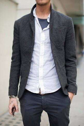 Men's Charcoal Wool Blazer, White Long Sleeve Shirt, Charcoal Crew-neck T-shirt, Charcoal Chinos
