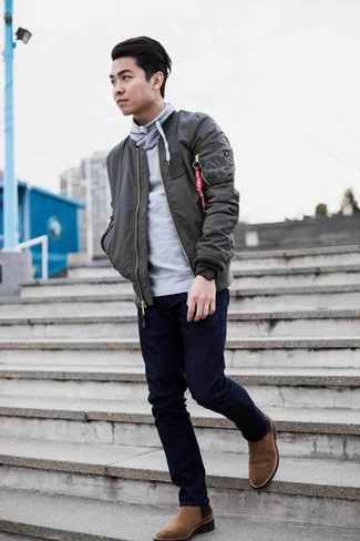 How to Wear a Grey Hoodie For Men: For a casual outfit, team a grey hoodie with navy jeans — these two pieces work perfectly well together. Bring a dose of elegance to your ensemble by wearing a pair of brown suede chelsea boots.