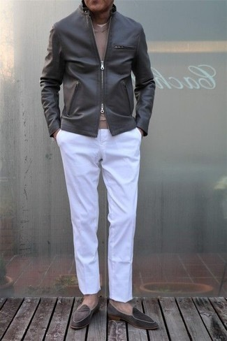 Grey Bomber Jacket Outfits For Men After 50: If you're looking for a laid-back and at the same time seriously stylish ensemble, opt for a grey bomber jacket and white chinos. Lift up this outfit with dark brown velvet loafers. Overall, a great option if we're talking style for guys in their 50s.