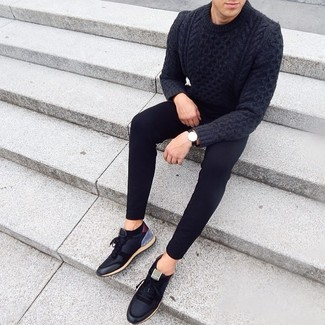 How to Wear a Black Leather Watch For Men: A charcoal cable sweater and a black leather watch are an urban combo that every fashion-forward guy should have in his wardrobe. Complement this ensemble with a pair of black low top sneakers to serve a little mix-and-match magic.