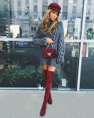 How to wear: charcoal knit cable sweater, burgundy velvet over the knee boots, burgundy quilted velvet crossbody bag, burgundy flat cap