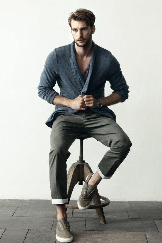 Men S Charcoal Cardigan Charcoal V Neck T Shirt Charcoal Chinos