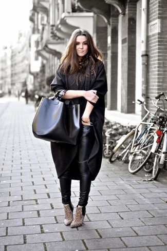 How to wear: charcoal coat, black leather leggings, tan leopard suede ankle boots, black leather tote bag