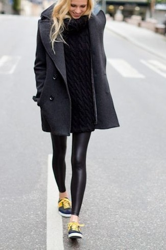 How to wear: charcoal coat, black knit turtleneck, black leather leggings, navy low top sneakers