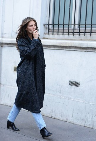 Light Blue Jeans with Charcoal Coat