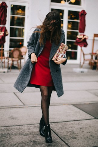 How to wear: charcoal coat, red shift dress, black leather ankle boots, black polka dot tights