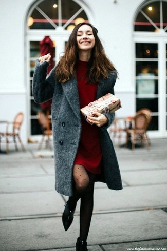 How to wear: charcoal coat, red sweater dress, black suede ankle boots, black polka dot tights
